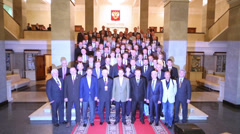 Participants at presentation of Olympic Winter Games Sochi Stock Footage