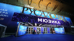 Cinema theater Russia with sign that musical Little Mermaid Stock Footage