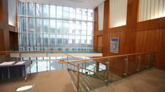 Empty hall with glass wall and staircase for business meeting Stock Footage