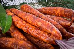 frankfurterki world to known and beloved thin small sausages - stock photo