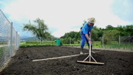 Stock Video Footage of Gardener makes a pile of soil with the rakes