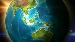 Globe zoom to Indonesia Rotation 4K (Ultra HD) resolution Stock Footage