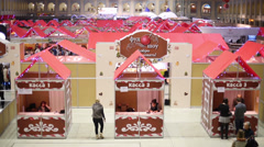 Food fair at sixth gastronomic festival Foodshow Christmas Stock Footage