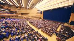 Spectators taking place before anniversary concert Edyta Piecha Stock Footage