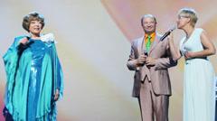 I.Bronevitskaya, Y.Galtsev and E.Piecha at anniversary concert Stock Footage