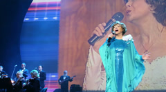 Edita Piecha sings at anniversary concert of Edita Piecha Stock Footage