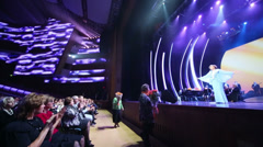 Edita Piecha on stage takes flowers at anniversary concert Stock Footage