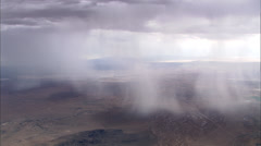 Low Rain Clouds Desert Plateau Stock Footage