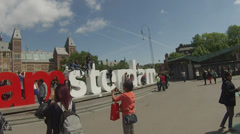 I Amsterdam Museumplein Stock Footage