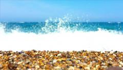 Pebbled beach with rough sea. Stock Footage