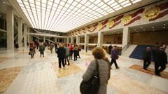 Viewers walk during break at anniversary concert of Edita Piecha Stock Footage