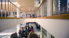 People at escalators during break at concert of Edita Piecha Stock Footage