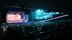 Audience and singer on stage at anniversary concert of E.Piecha Stock Footage