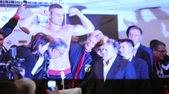 Weighing boxer Vitali Klitschko before fight with Manuel Charr Stock Footage