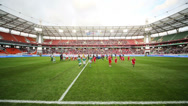 Stock Video Footage of Children run before game Russian team against Northern Ireland