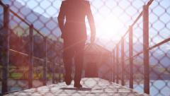 Businessman waling down the road. career. business. success. male person. people Stock Footage