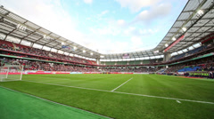 Playing field  before game Russian team against Northern Ireland Stock Footage