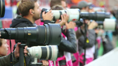Photographers at game Russian team against Northern Ireland Stock Footage