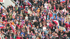 Russian fans at game Russian team against Northern Ireland - stock footage