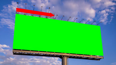 Green screen big billboard and cloud float in sky (4K time lapse) Stock Footage