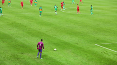 Goalkeeper serves ball on match at Lokomotiv Stadium. Stock Footage