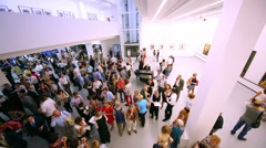 People at photo exhibition Atomic Civilization in Art Museum Stock Footage