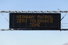 Zero tolerance freeway sign Stock Photos