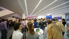 Crowd at photo exhibition Atomic Civilization Stock Footage