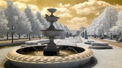 An ornamental fountain in Regents Park on a beautiful sunny day. Stock Footage
