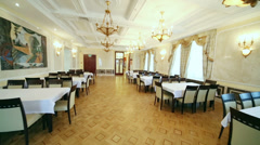 Hall with many tables in Central House of Culture of Railwaymen Stock Footage