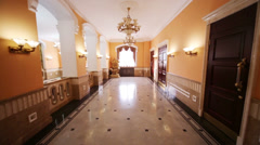 Hallway in Central House of culture of railwaymen. Stock Footage