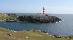 Eilean Glas lighthouse Isle of Scalpay Scotland Stock Footage
