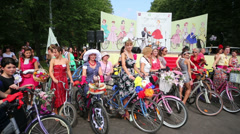 Participants of cycle parade Lady on Bicycle at Sokolniki park Stock Footage