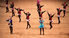 Girls dance on World championship on Acrobatic Rock-n-roll Stock Footage