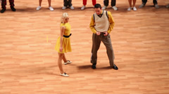 Young competitors dance boogie-woogie on World championship Stock Footage