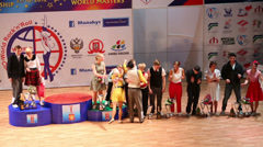 Awarding of winners dancers boogie-woogie on World championship Stock Footage