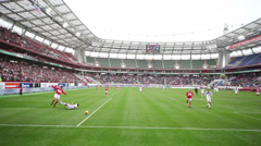 Players play football at match Spartak Moscow - Dynamo Kiev Stock Footage