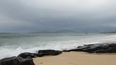 Crashing waves on beach Isle of Harris Scotland Stock Footage