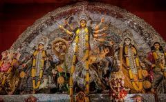 Durga Idol, traditional, worship, Hindu, Hinduism, Bengal culture, extravagant,  - stock photo