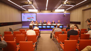 Stock Video Footage of Press Conference on International Summer Tennis Championships