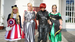 Cosplayers at festival Everycon near House of Culture in VVC. Stock Footage