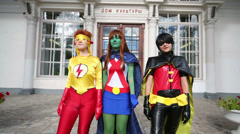Superheroes at festival Everycon near House of Culture in VVC. Stock Footage