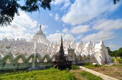 white pagoda of hsinbyume paya temple, mingun, mandalay - myanmar - stock photo