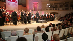 Applauding viewers and musicians on stage at IV Grand Festival - stock footage
