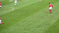 Players fold ball at football match Spartak Moscow - Dynamo Kiev Stock Footage
