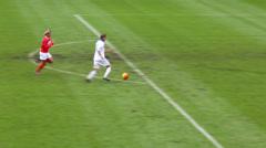 Player scores goal at football match at Lokomotiv stadium. Stock Footage