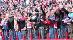 Fans applaud at football match Spartak Moscow - Dynamo Kiev Stock Footage