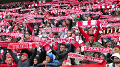 Fans with scarves at football match Spartak Moscow - Dynamo Kiev Stock Footage