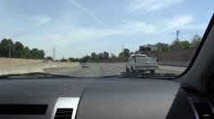 Driving Sacramento Freeways , oil drum, I -80 Stock Footage