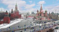 Red Square with the Kremlin and St Basils Cathedral. - stock footage